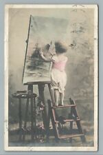 Little Girl Painting Maritime Scene on Canvas RPPC Antique Artist Photo 1905