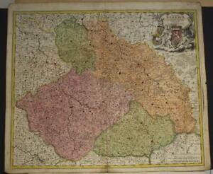 CZECH REPUBLIC & POLAND 1719 JOHANN BAPTIST HOMANN ANTIQUE COPPER ENGRAVED MAP