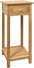 Bamboo Wood Tall Side Bedroom Living Room End Table with Drawer & Lower Shelf