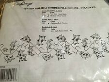 Craftways HOLIDAY BORDER pair of standard pillowcases to Cross Stitch