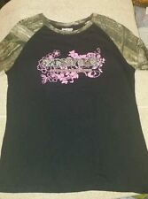 Woman's large 12-14 Break Up infinity Mossy Oak black pink camo t-shirt