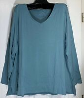 J Jill women Plus size 3X stretch V-neck tunic top long sleeve Pima cotton New