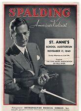 1940 ALBERT SPALDING Concert Poster FALL RIVER MASSACHUSETTS Violinist CLASSICAL