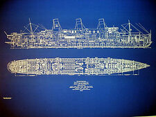 "Ships Plan UNITED STATES LINES Ship SS Leviathan 1914 Blueprint 22""x32"" (053)"