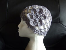 NEW SPARKLY CROCHET GREY / SILVER PARTY HAT 1970s DANCE fancy dress abba HEN