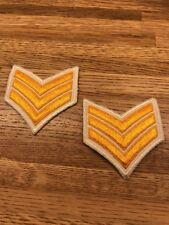 1 PAIR SERGEANT CHEVRON STRIPES GOLD ON WHITE FOR POLICE SECURITY FIRE ETC NEW