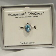 Swarovski Ring Sterling Silver SZ 8 Blue Crystal elements Pear Promise Cocktail