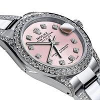 Women's 31mm Rolex SS Oyster Band Datejust Custom Diamond Metallic Pink Dial
