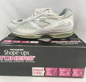 Sketchers Shape Ups Toners SZ 9.5 Silver Blue Toning Fitness Sneakers ultra fit