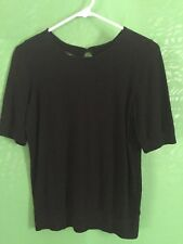 8105) TALBOTS Small black cotton blend fitted sweater short sleeve S