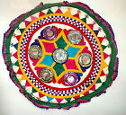 VINTAGE MIRROR WORK EMBROIDERED ROUND FLOOR CUSHION COVER TAPESTRY DECORATIVE C3
