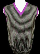 ETRO Milano Italy Mens Gray Purple Wool Knit Pullover Vest Waistcoat Large