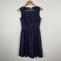 Jenny Ford Womens Dress Small Blue Cherry Print Sleeveless Boat Neck Zip Closure