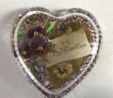 Puffy Crystal Glass Heart Paperweight w/Antique Pansy Paper Valentine