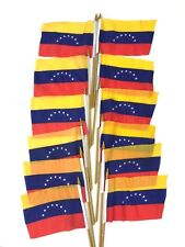 "12 Venezuela Small 4"" X 6"" Country Stick Flags Banner with 10 Inch Plastic Pole"