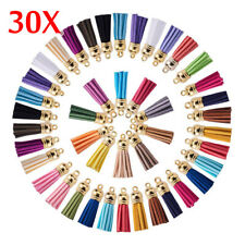 30x Suede Leather Tassel DIY Keychain Pendant Earrings Jewelry Finding Charms