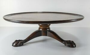 Antique English Ball and Claw Foot Mahogany Centerpiece Stand Base Pedestal