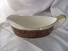 Alfred Meakin burgundy red ivory gold lace trim gravy boat England