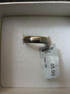 Boccia Titanium Ring Titan teil-vergoldet Gr. 57, Neu
