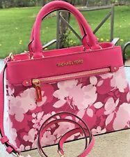 Michael Kors Hailee Kellen  Small Crossbody Pink Floral Satchel Purse MK Granita