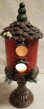 "14.75"" Christmas Light Up Birdhouse On Pedestal"