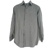 Eddie Bauer Tall Mens Button Up Olive Green Striped Long Sleeve Shirt Size Large