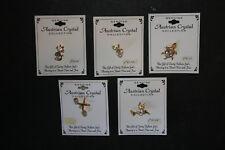 5 Vintage Nos Austrian Crystal Pins Hummingbird Hockey Sticks Cat Tortoise