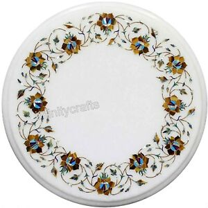 Marble Coffee Table Top Peitra Dura Art Patio Table for Garden Furniture 15 Inch