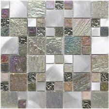 Cut down sample of iridescent random glass stone & metal mosaic tiles