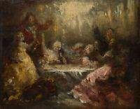 Festmahl nach der Jagd, 19.Jhd., Öl auf Holz