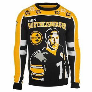 KLEW NFL Men's Pittsburgh Steelers Ben Roethlisberger #7 Ugly Sweater