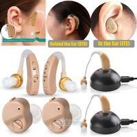 2x Rechargeable Digital Hearing Aid Severe Loss Invisible BTE/ITE Tone Amplifier