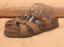Mephisto Taupe Nubuck Suede 2 Strap Flat Slide Sandal sz 40/9-9.5US