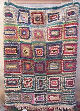 VINTAGE Marocchino boucherouite Rag Tappeto-Design Moderno - 187 x 137cm