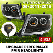 Headlights PAIR Black DRL HALO Projector Angel Eyes suit Toyota HILUX 2011-2015
