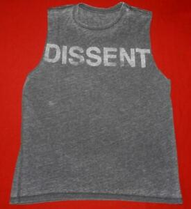 "All Saints Rare Grey ""Dissent"" Graphic print Vest T-shirt Top Tee Size XS"