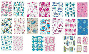 2 SHEETS WRAPPING PAPER FEMALE/ MALE AGES 13 16 18 21 30 40 50 80 PINK BLUE (AWU
