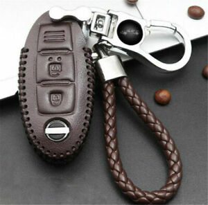 New Real Leather Chromium Remote Key Bag Case Holder Cover Key Chain For Nissan