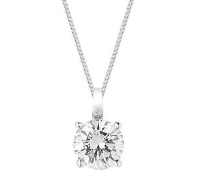 1 Ct Diamond Solitaire Pendant Necklace in 14k White Gold Over with Chain