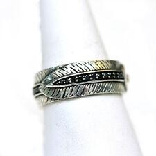 DAVID YURMAN NEW Mens 9.5mm Southwest Feather Black Diamond Band Ring 9.25
