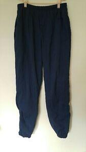 VTG Reebok 90s Windbreaker Pants LARGE High Waist Zip Ankle Navy Joggers Swishy