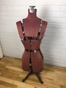 Antique Dress Form Victorian Adjustble Cast Iron Base Chicago Borchert Mannequin