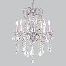 Jubilee Girl's Room 5-Light Whimsical Beaded CRYSTAL Chandelier Lavender PURPLE