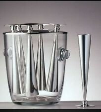 NEW PAMPALONI CRYSTAL CHAMPAGNE COOLER W/ 6 SILVER PLATED FLUTES