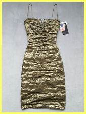 NWT $375 NICOLE MILLER COLLECTION METALLIC BRONZE OLIVE CRINKLE RUCHED DRESS 4