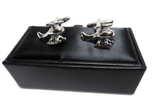 Novelty Silver Helicopter Cufflinks High Quality Gift Box Mens Husband Present