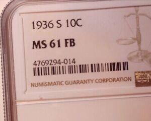 MERCURY DIME 1936 S MS-61 FULL BANDS  NGC