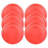 Pyrex 7402-PC 6/7 Cup Red Plastic Food Storage Replacement Lid Cover (6-Pack)