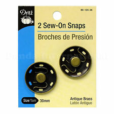 New 2 Sew-On Snaps(Brouches de presión) Dritz Size 30mm, Antique Brass 80-125-38