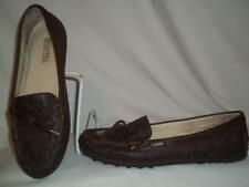 4ed699931695 MICHAEL KORS Brown MK Logo Print Leather Lined Moccasin Loafer Flat Shoes 6M
